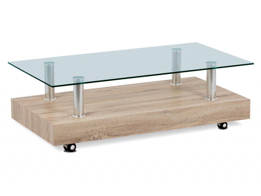Konferenční stolek dubový dekor sonoma se sklem 110 × 60 × 35 cm
