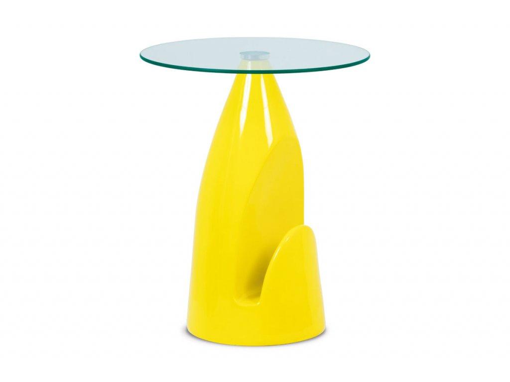 Odkládací stolek žlutý se sklem 50 x 61 cm