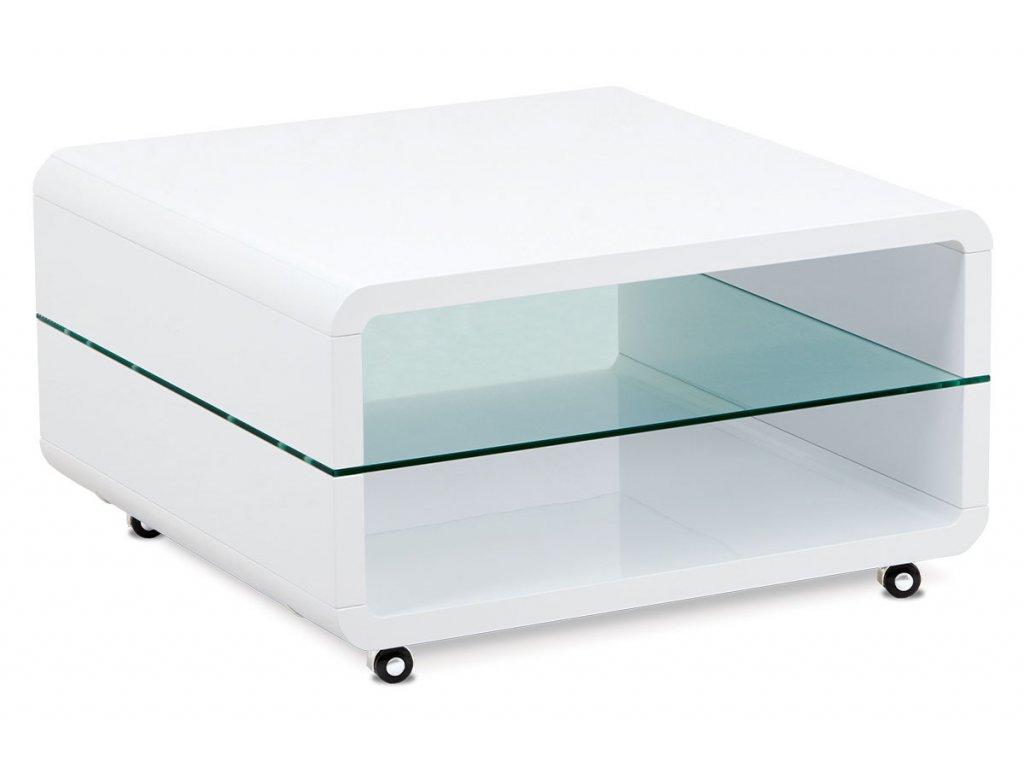 Konferenční stolek bílý se sklem a kolečky 80 x 80 x 45 cm