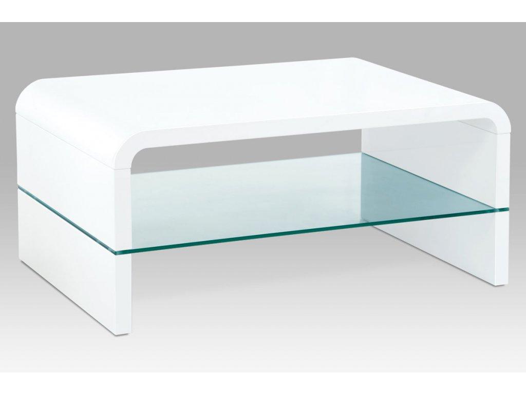 Konferenční stolek bílý se sklem 90 x 60 x 40 cm