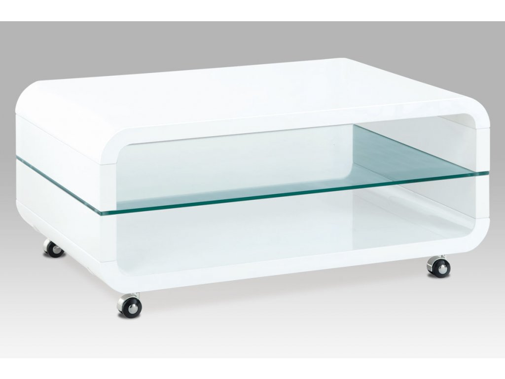 Konferenční stolek bílý se sklem a kolečky 90 x 60 x 40 cm