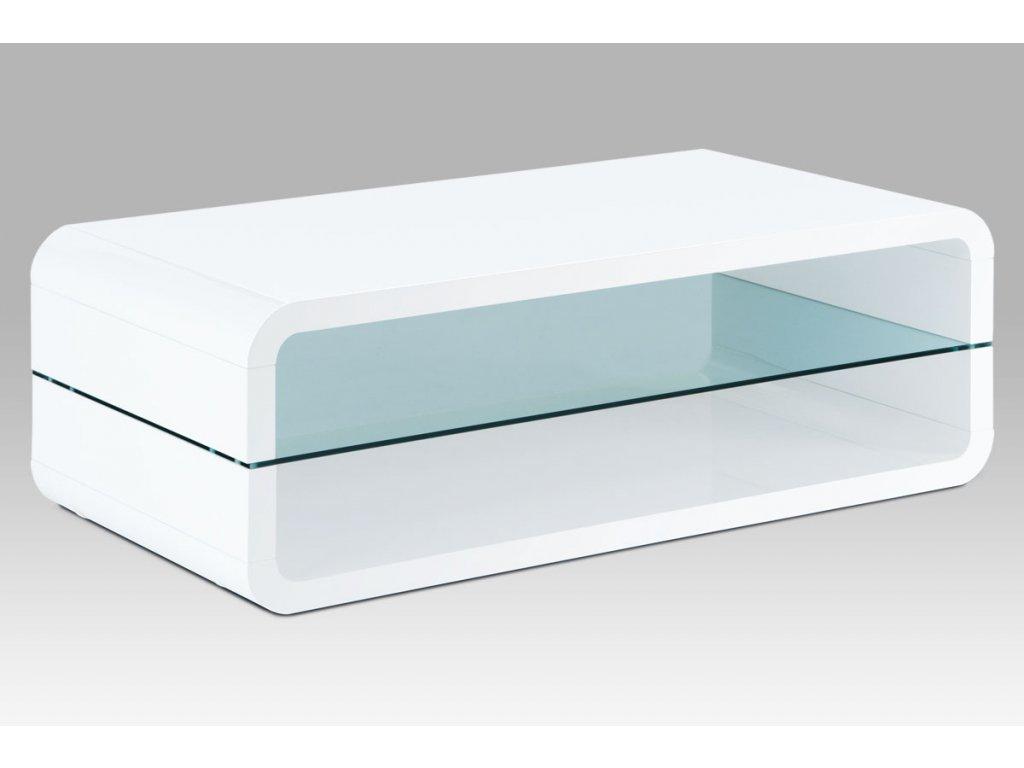 Konferenční stolek bílý se sklem 120 x 60 x 40 cm