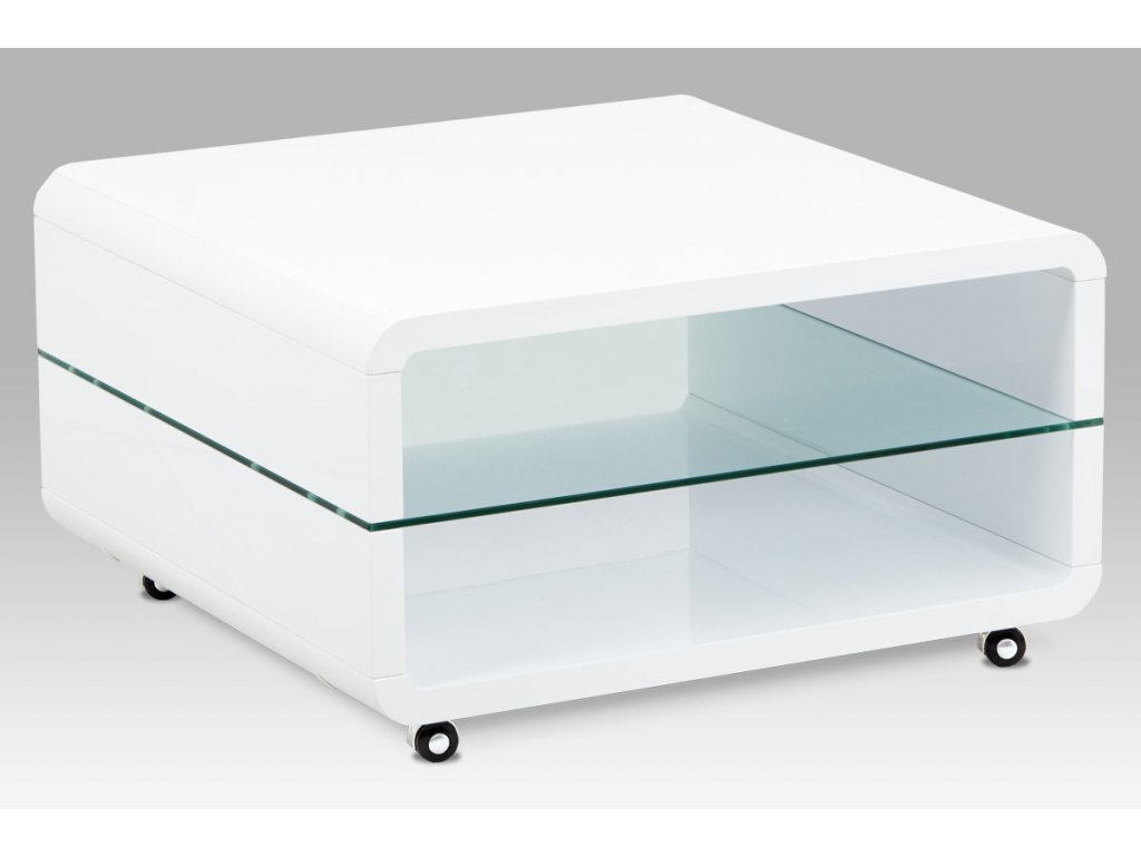 Konferenční stolek bílý se sklem a kolečky 80 x 80 x 40 cm