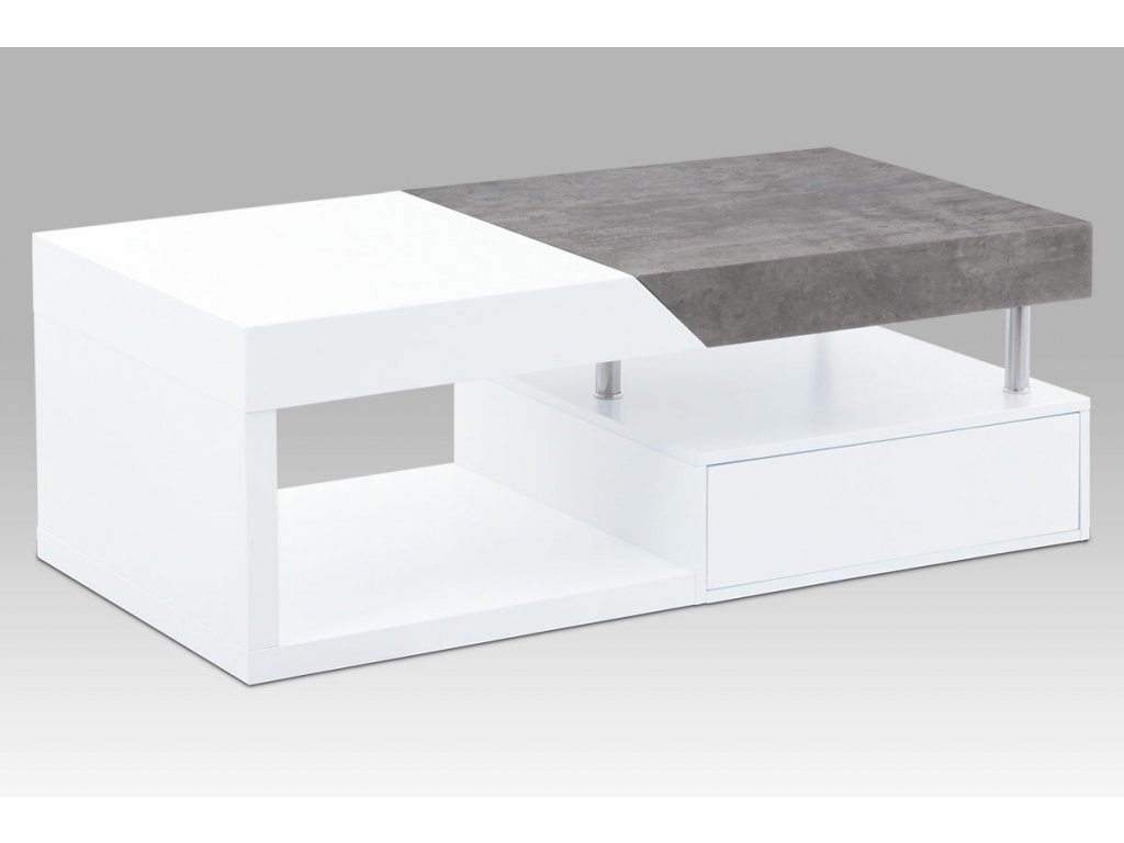 Konferenční stolek bílý / dekor beton 120 x 60 x 42 cm