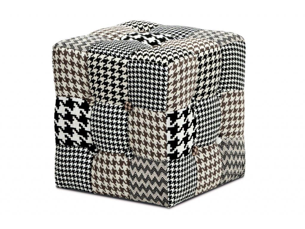 Taburet černobílý patchwork