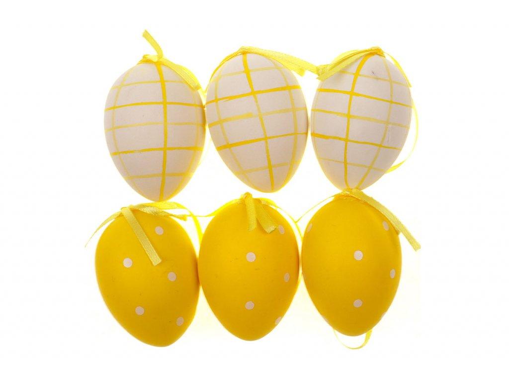 Sada 12 ks dekorací: Vajíčka plastová bílo-žlutá 6 cm