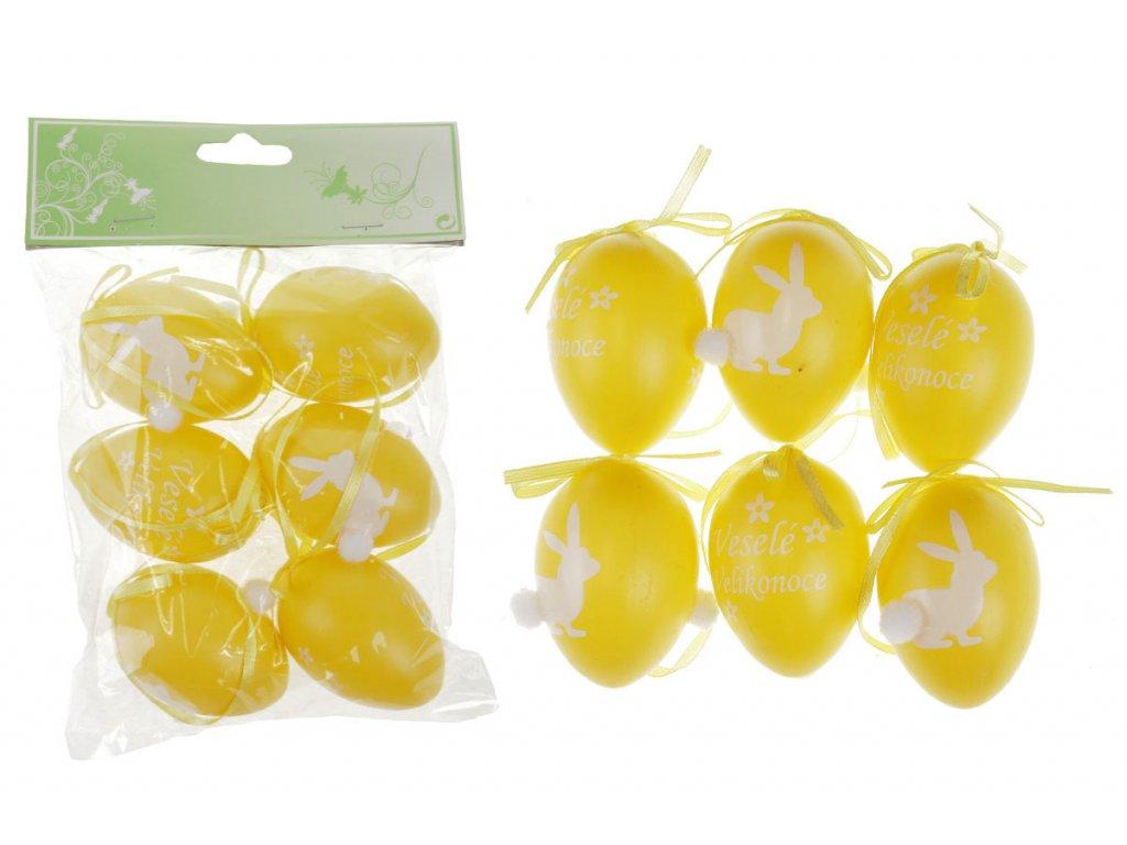 Sada 24 ks dekorací: Vajíčka plastová žlutá 6 cm