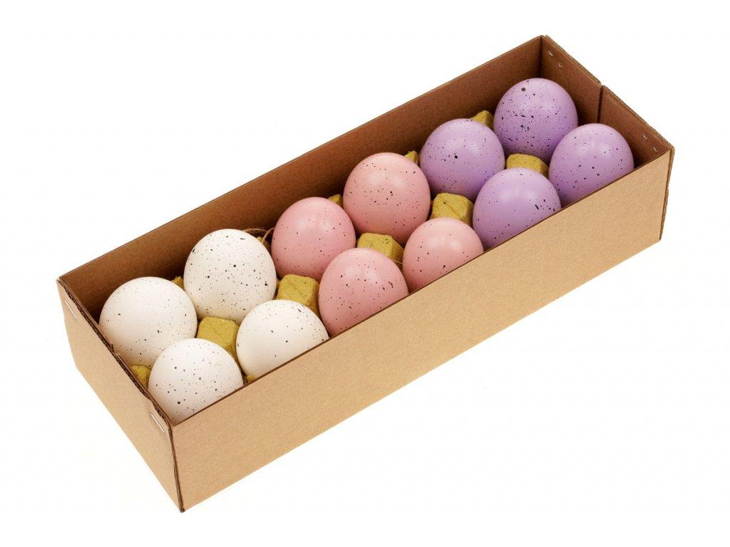 Sada 36 ks dekorací: Vajíčka slepičí bílo-růžovo-fialová 6 cm