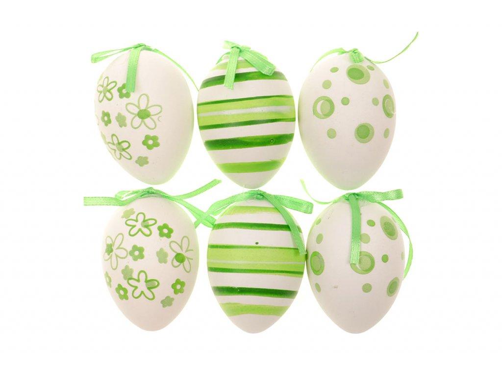 Sada 12 ks dekorací: Vajíčka plastová bílo-zelená 6 cm