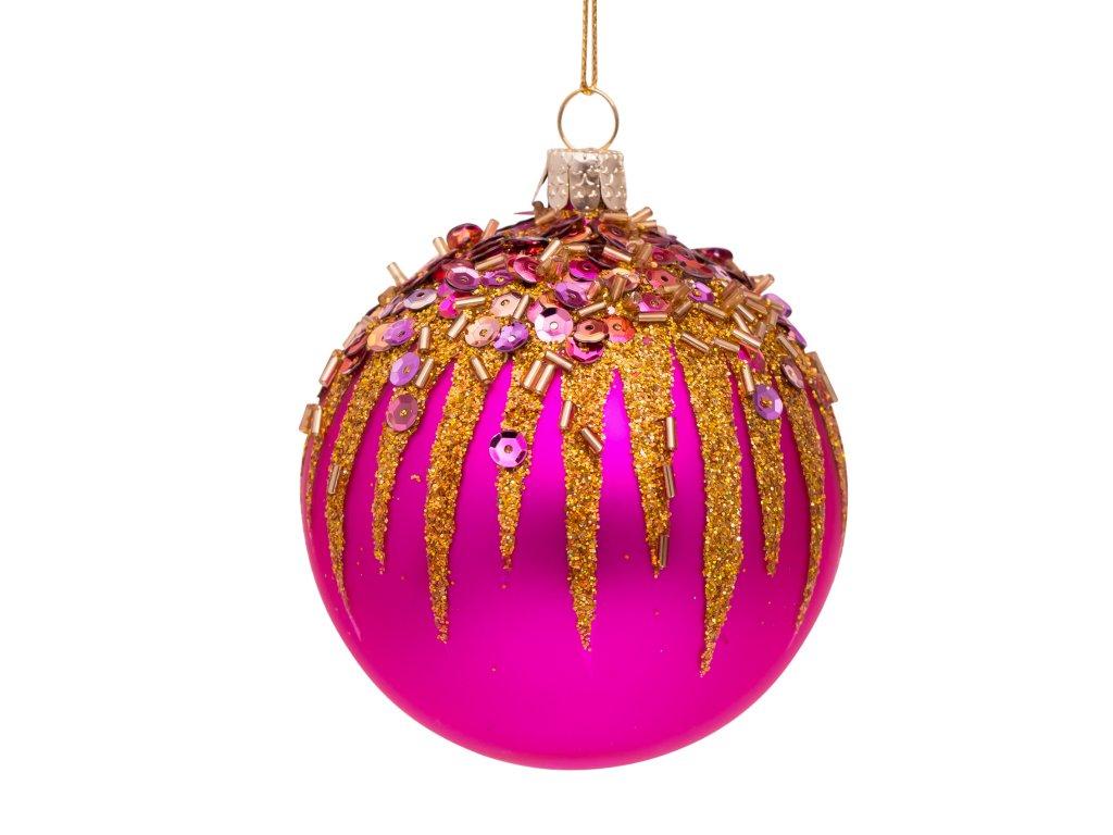 Vánoční skleněná Ozdoba s posypem 8 cm
