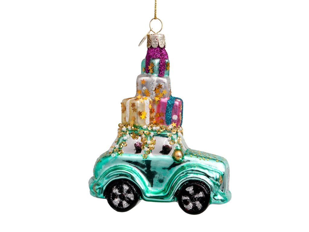 Vánoční skleněná ozdoba Auto s dárečky 12cm