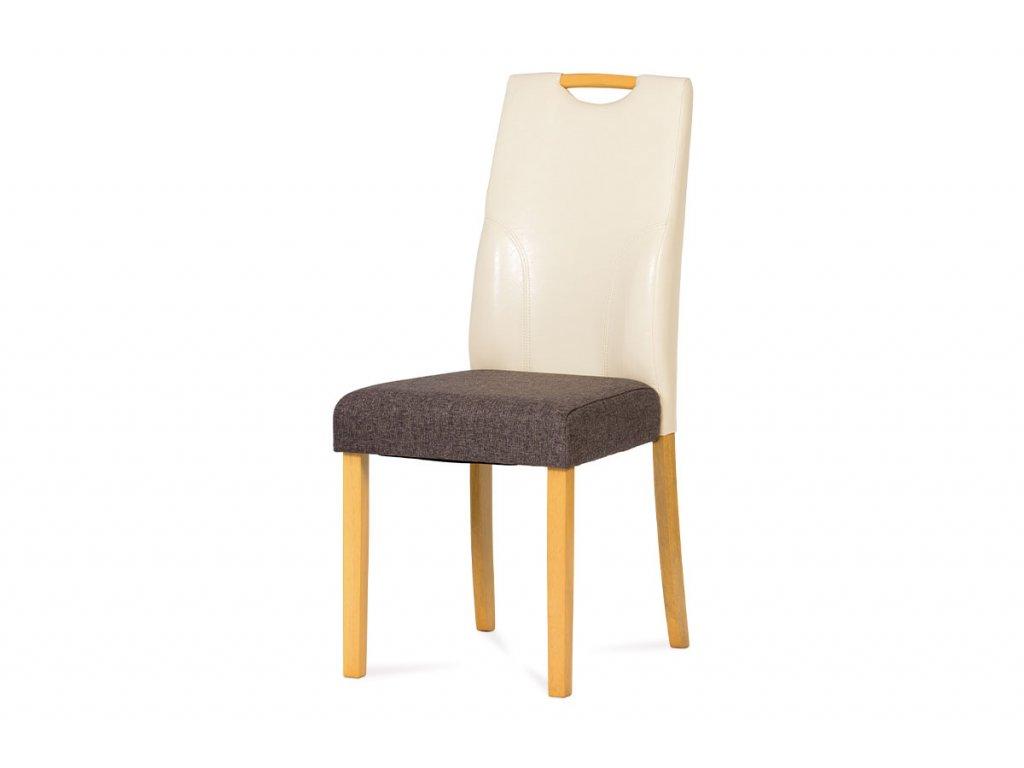 Jídelní židle hnědá látka / buk