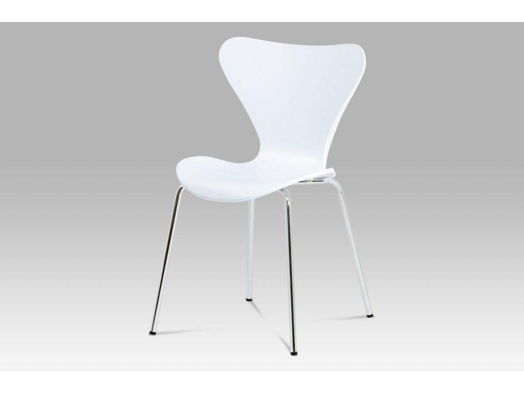 Jídelní židle bílá plastová / chrom