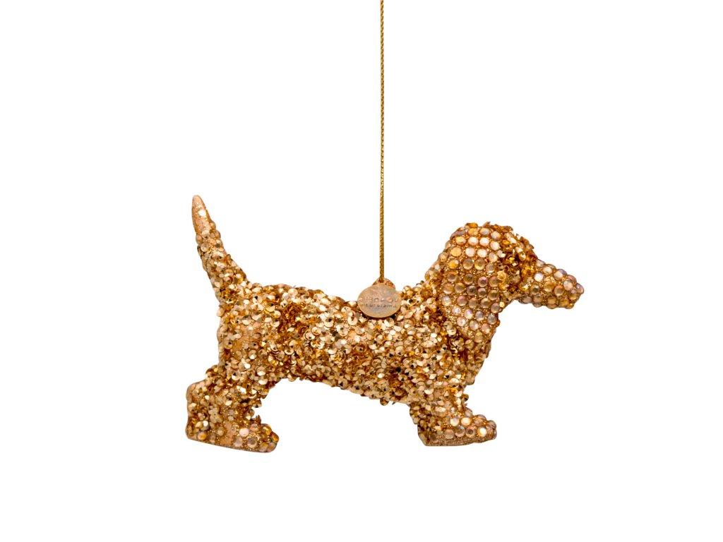 Vánoční skleněná ozdoba Pejsek zlatý 7cm