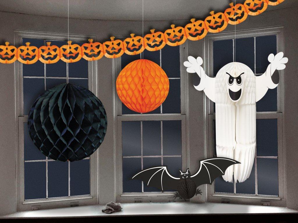 Sada 5 ks papírových dekorací koule 20 cm a 25 cm, netopýr, strašidlo, řetěz s dýněmi bez čísel