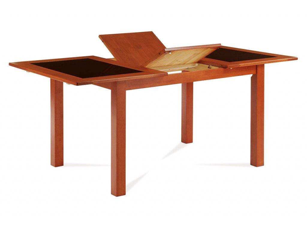 Jídelní stůl rozkládací třešeň s černým sklem 130 - 176 x 90 cm