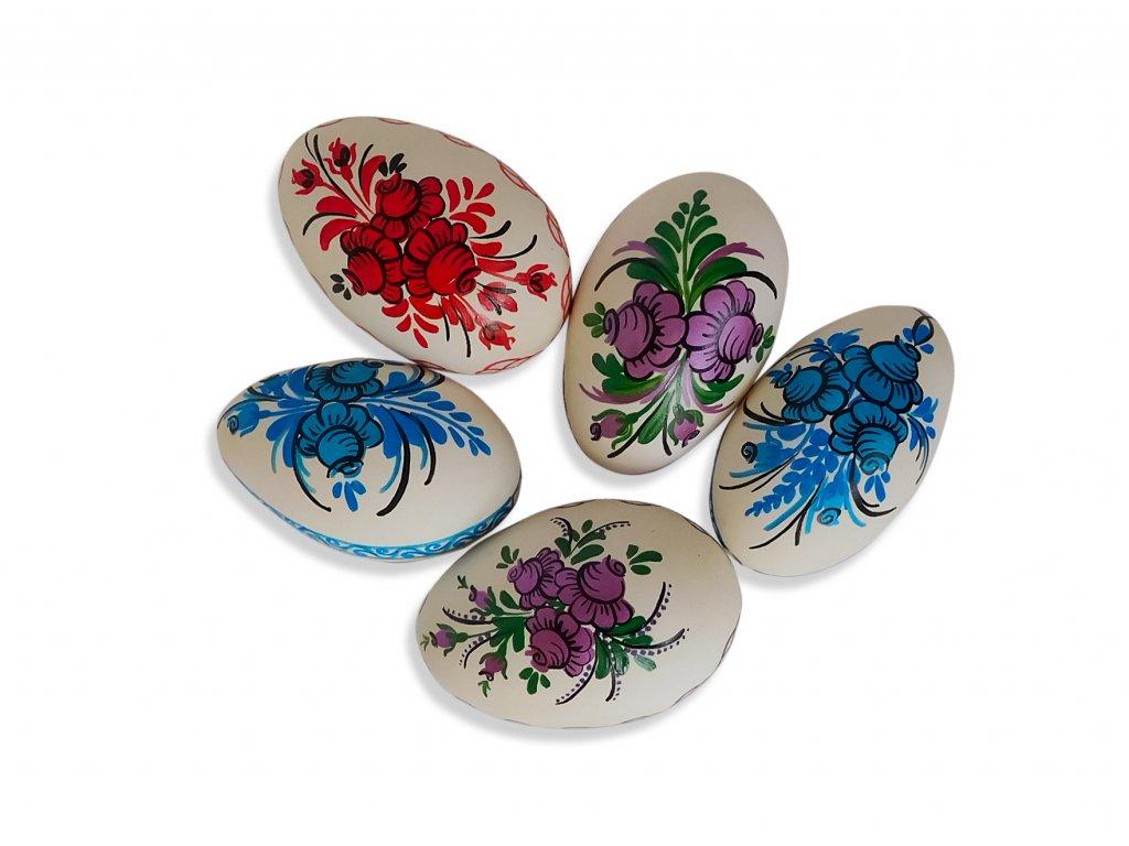 Sada 5 ks dekorací: Velikonoční husí kraslice z Broumovska s motivem růže
