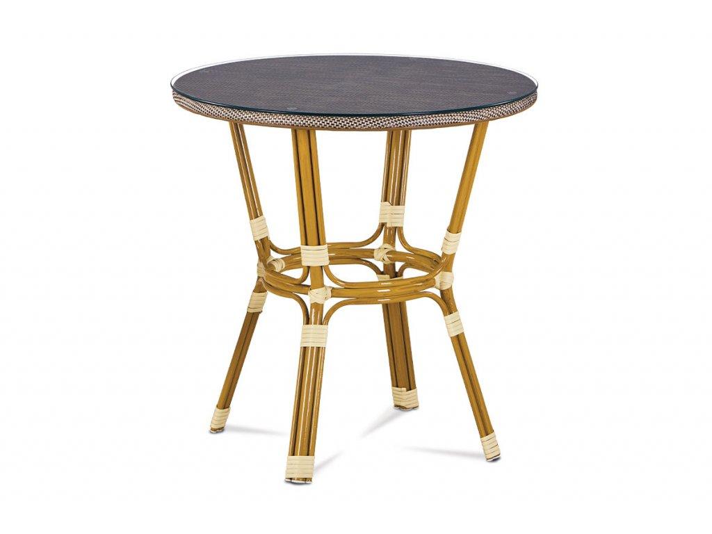Zahradní stůl se sklem cappuccino 71 x 70 cm