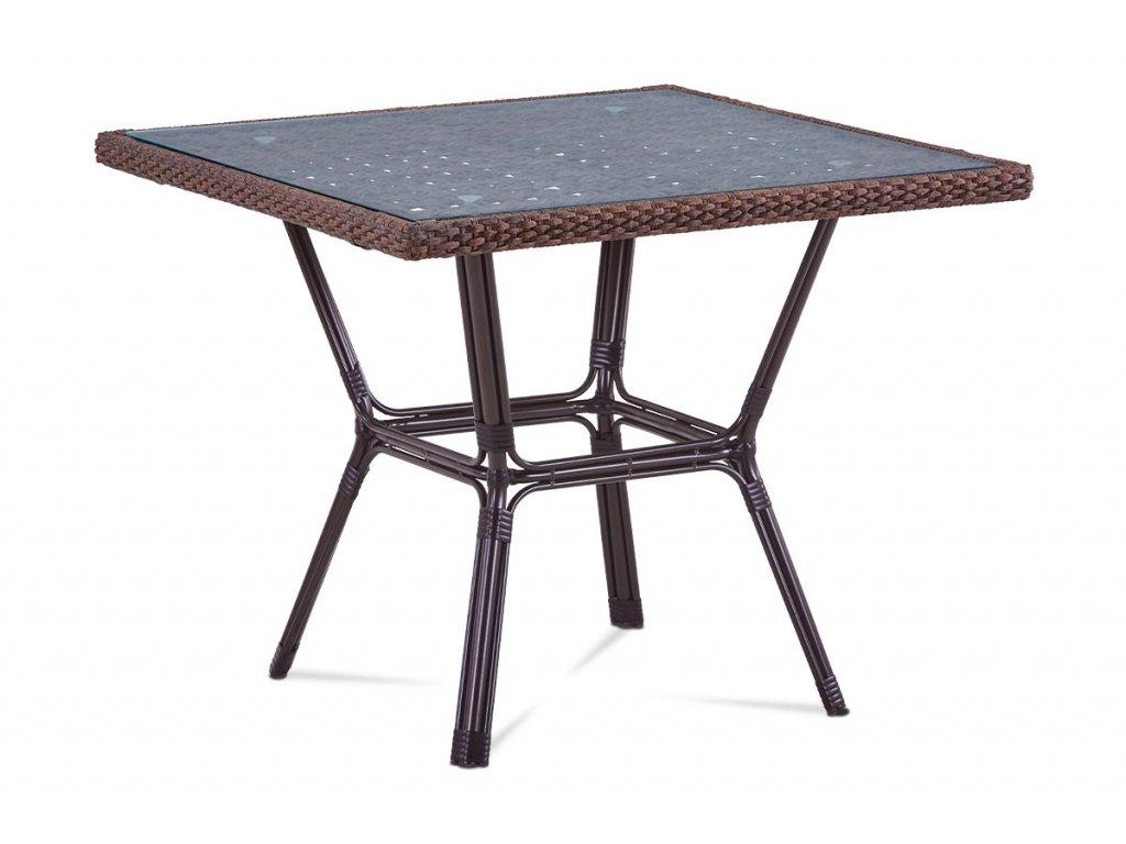 Zahradní stůl se sklem hnědý 74 x 90 cm