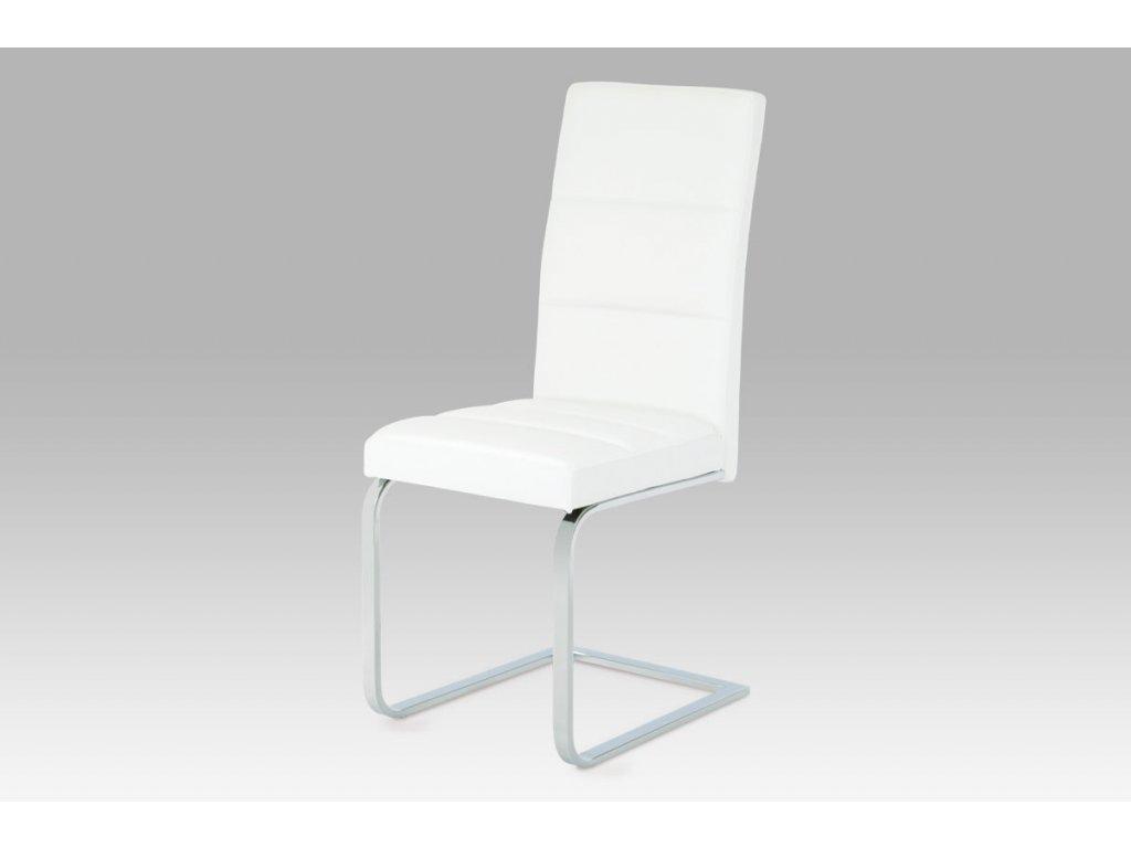 Jídelní židle bílá ekokůže / chrom