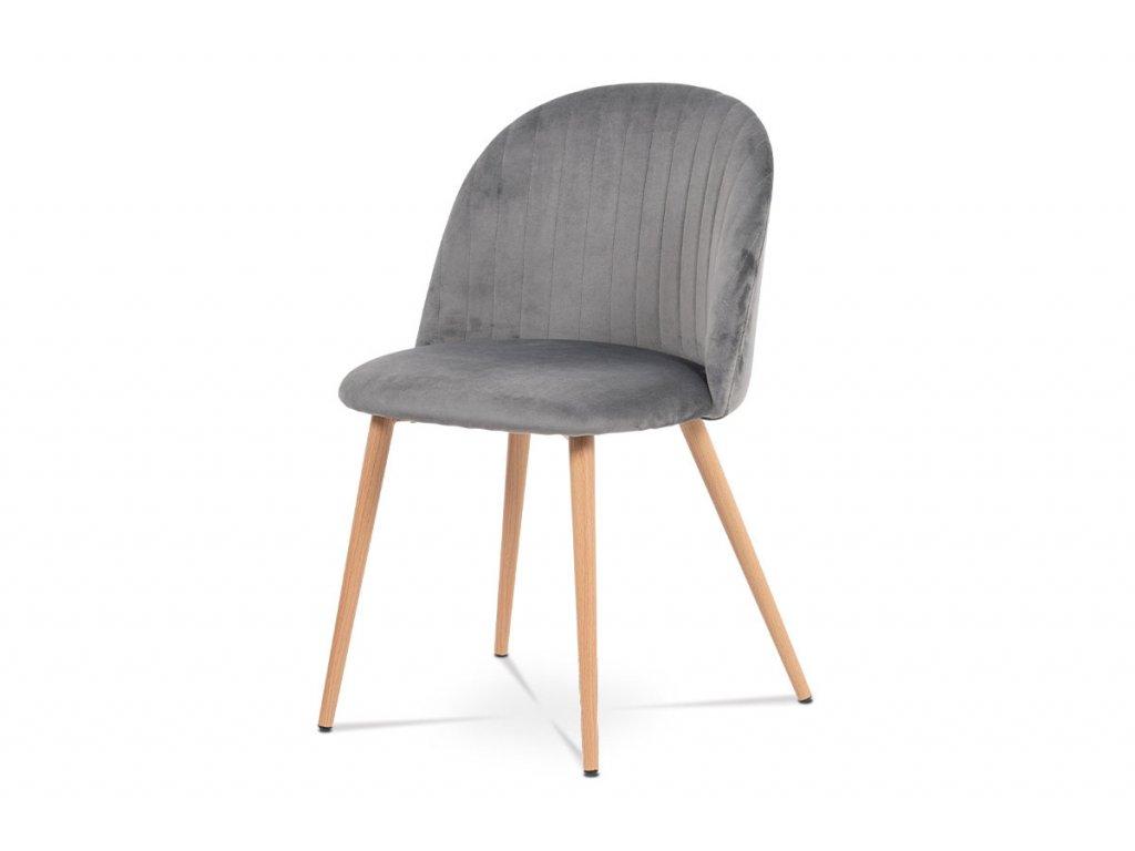 Jídelní židle šedá sametová látka / dub