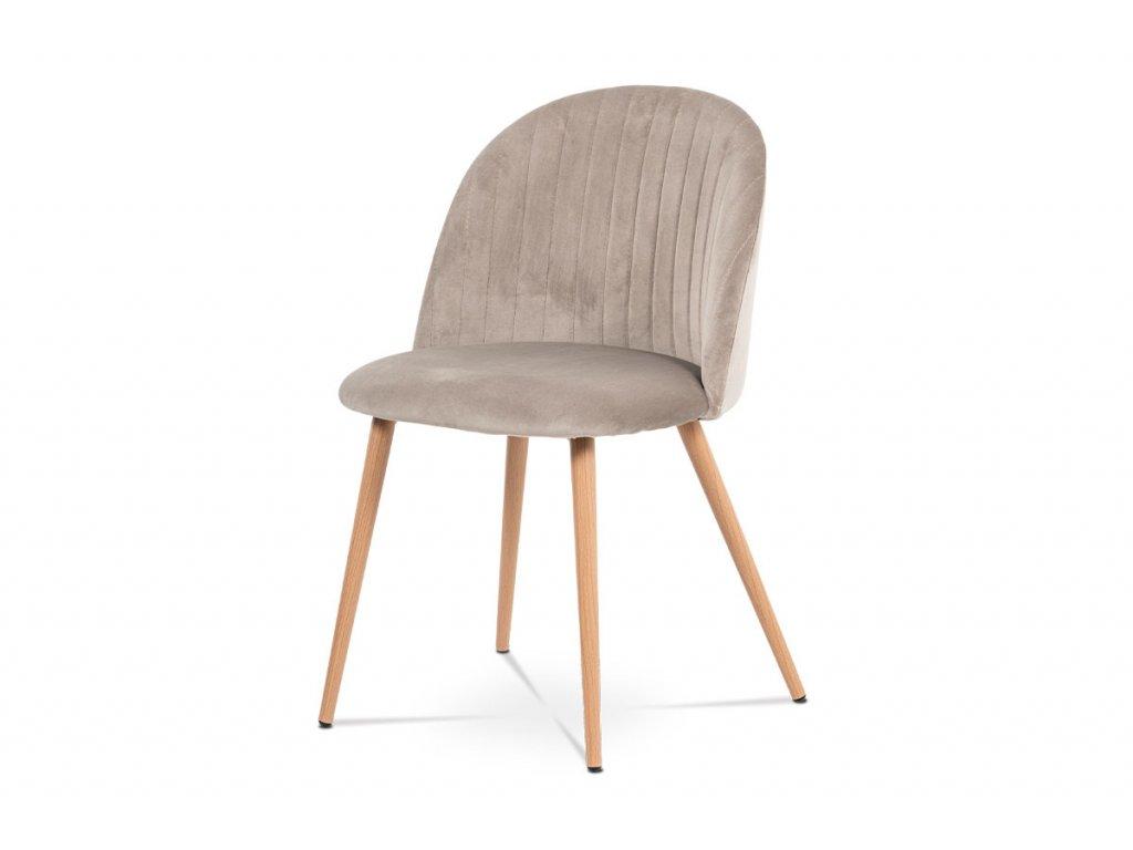 Jídelní židle béžová sametová látka / dub