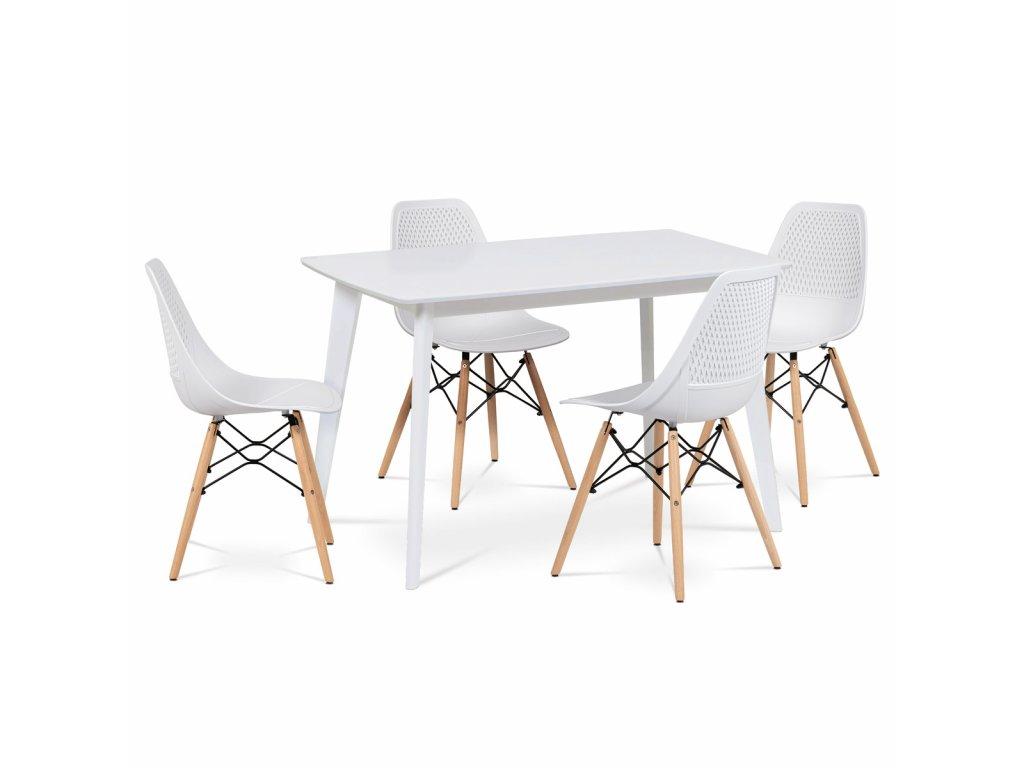 Jídelní židle bílá plastová / přírodní odstín