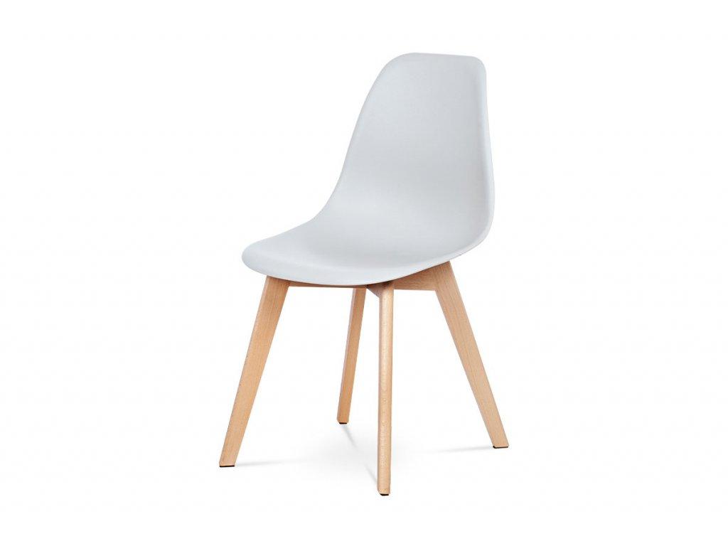 Jídelní židle šedá plastová/ buk