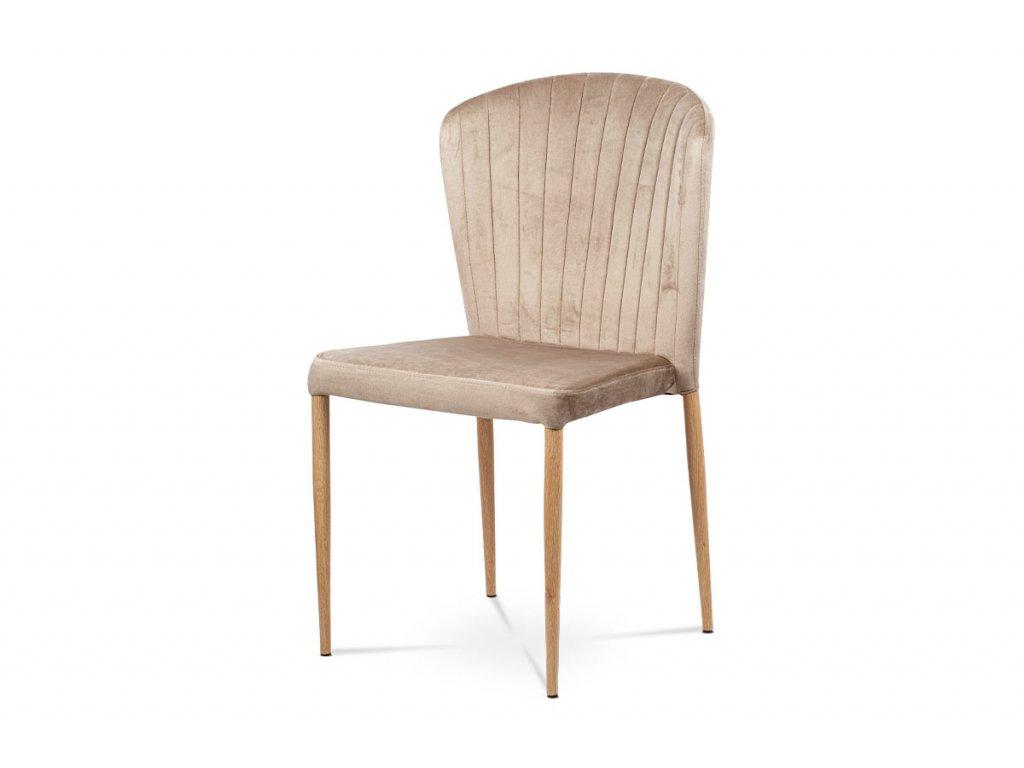 Jídelní židle krémová sametová látka / dub