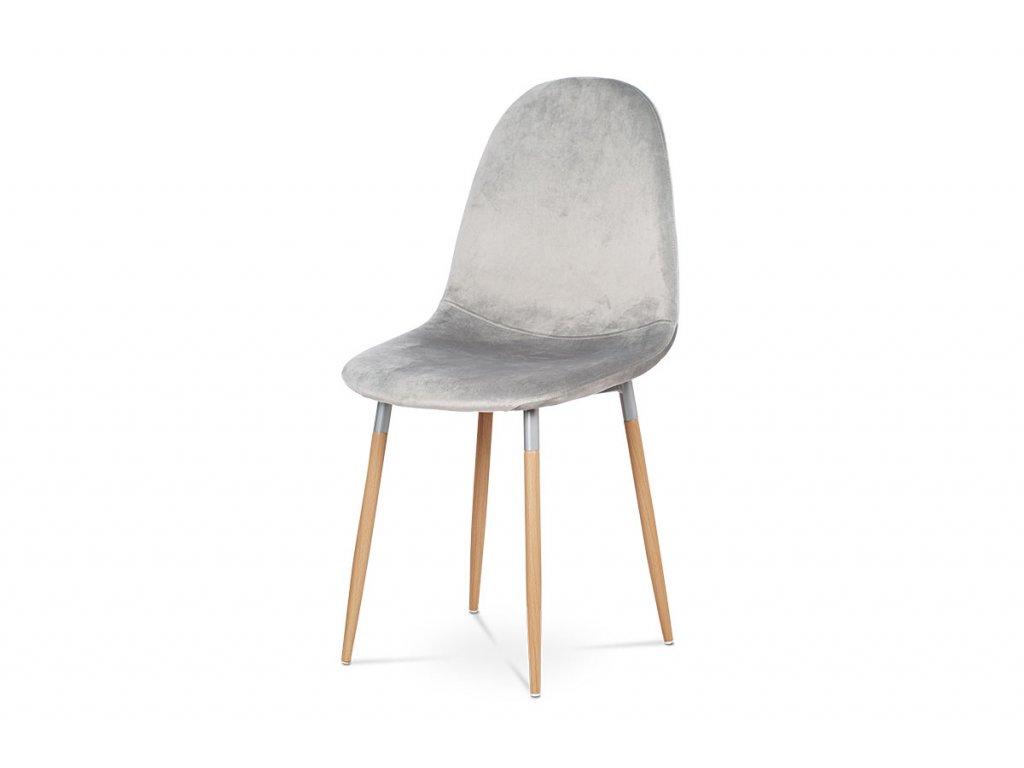 Jídelní židle stříbrná sametová látka / buk