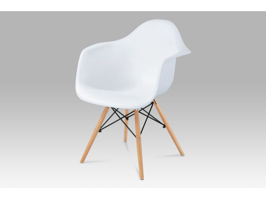 Jídelní židle bílá plastová / buk