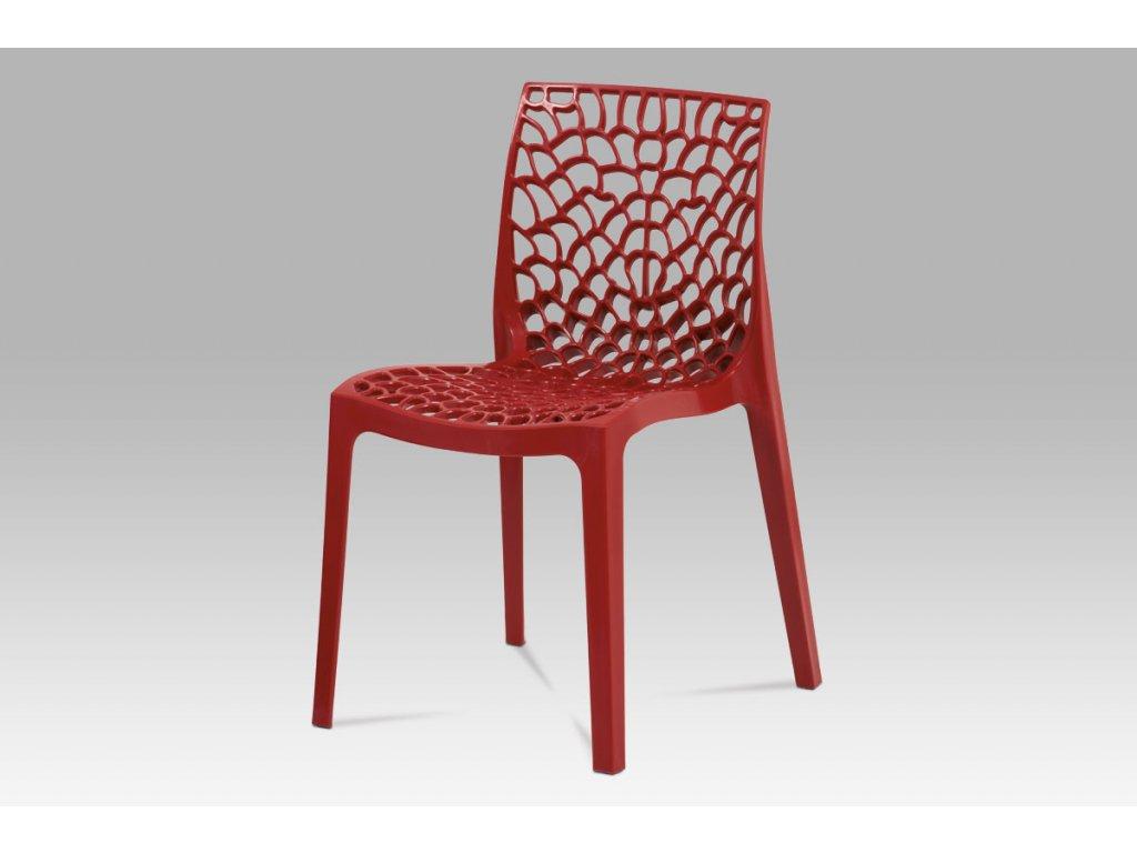 Jídelní židle červená plastová