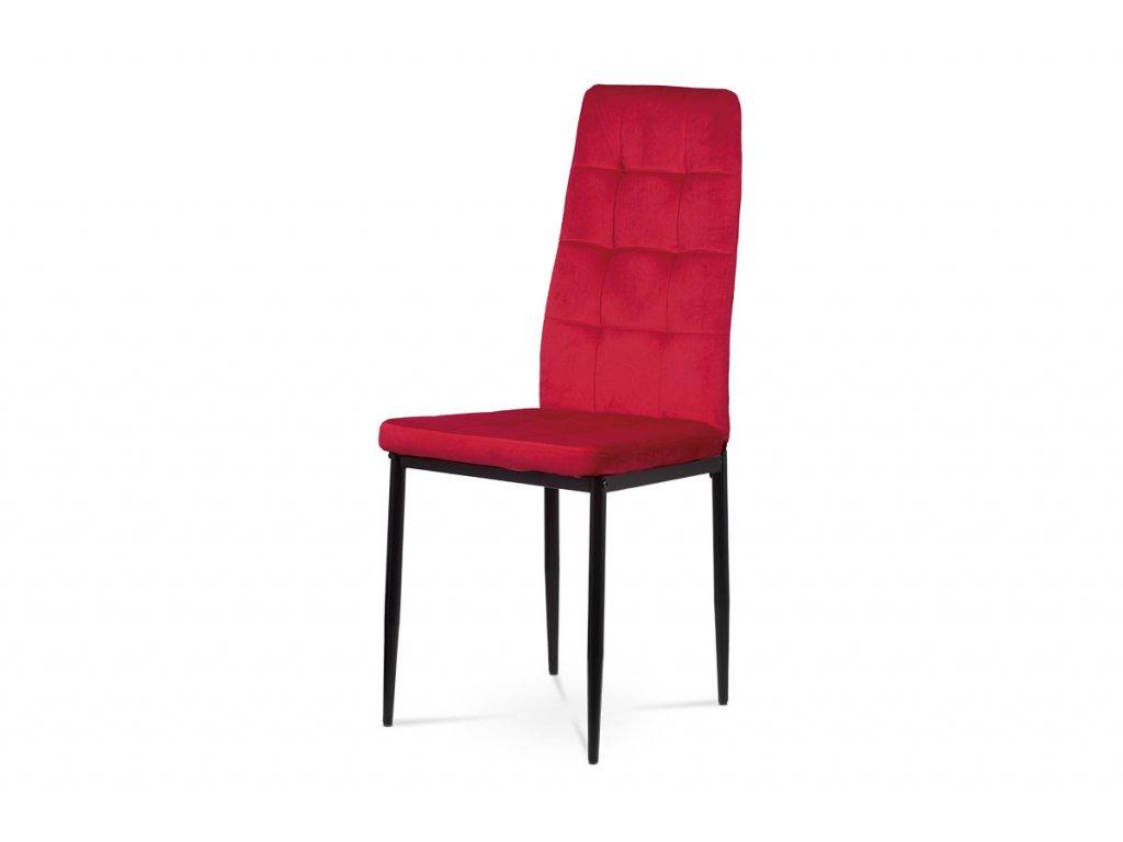 Jídelní židle červená sametová látka / kov