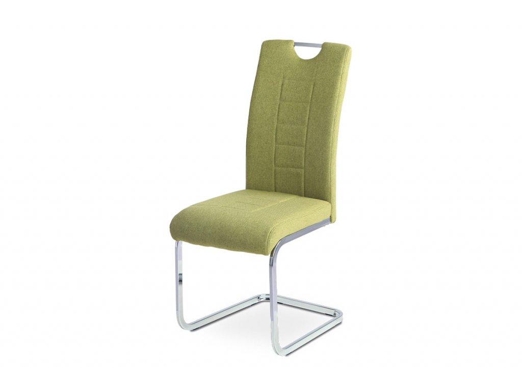 Jídelní židle zelená látka / chrom