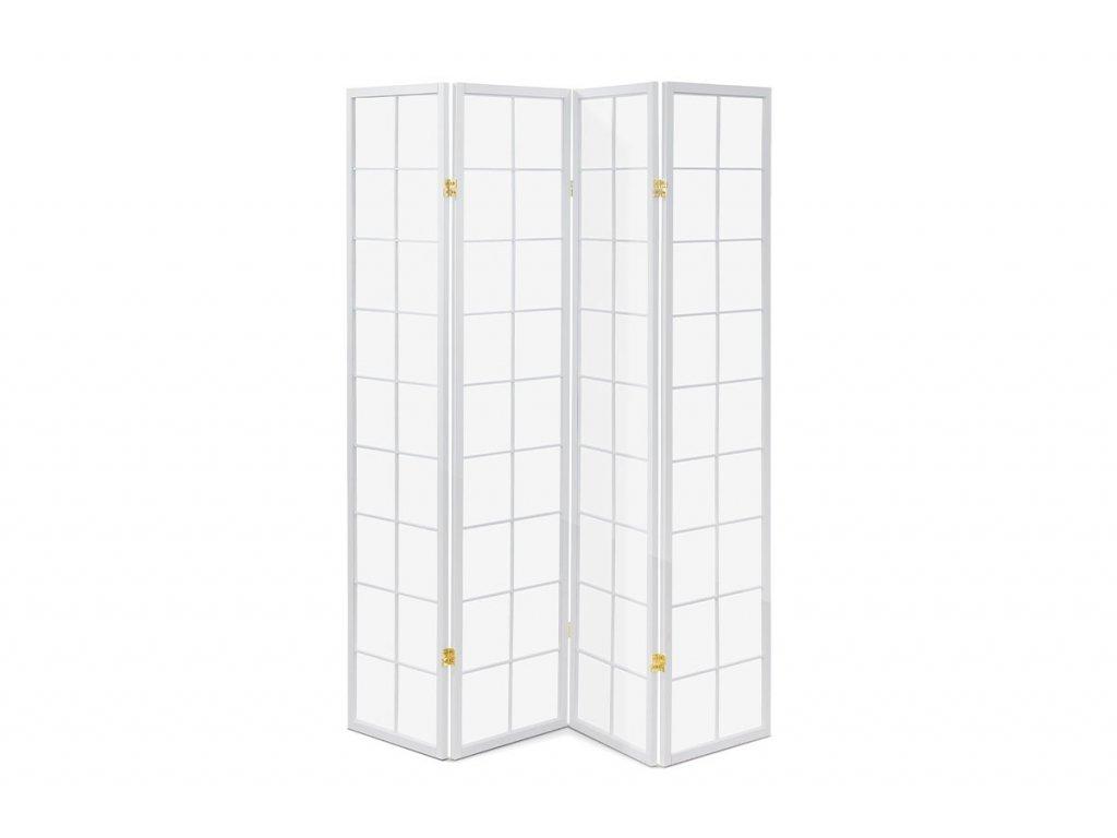Paraván čtyřdílný bílý 179 x 174 cm