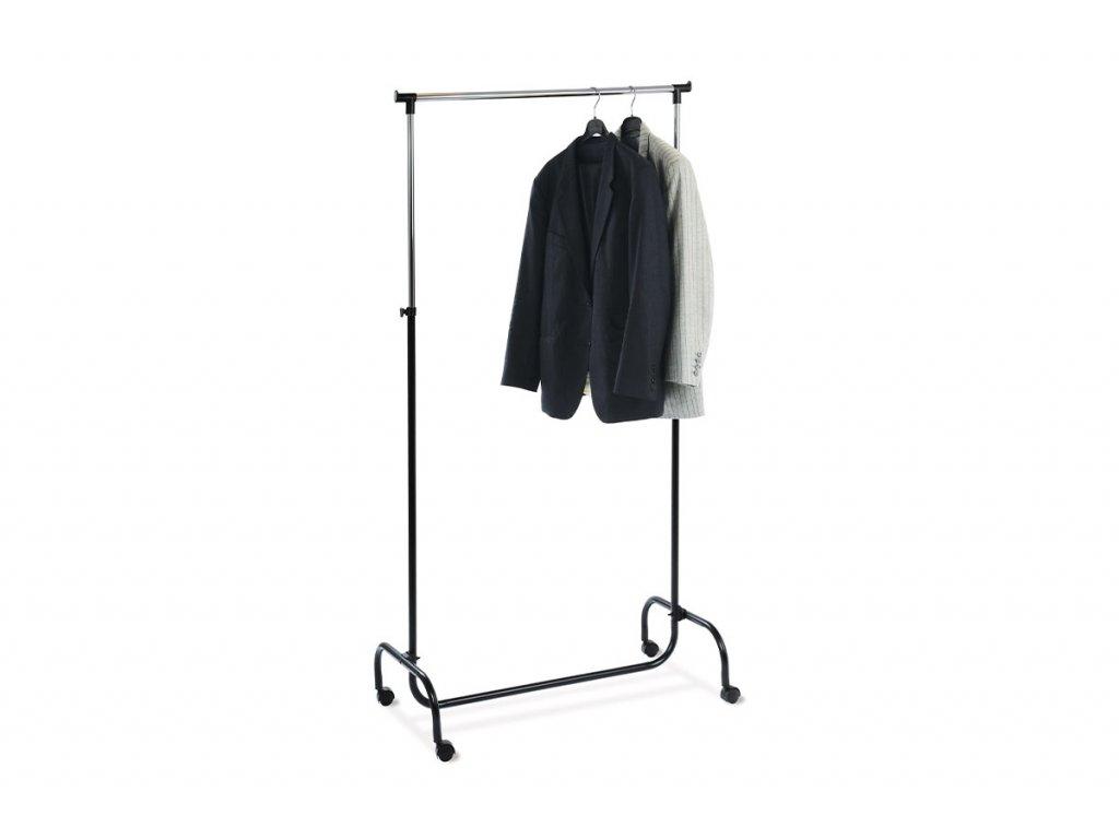 Stojan na šaty černý / chrom 90 x 122 - 190 x 43 cm
