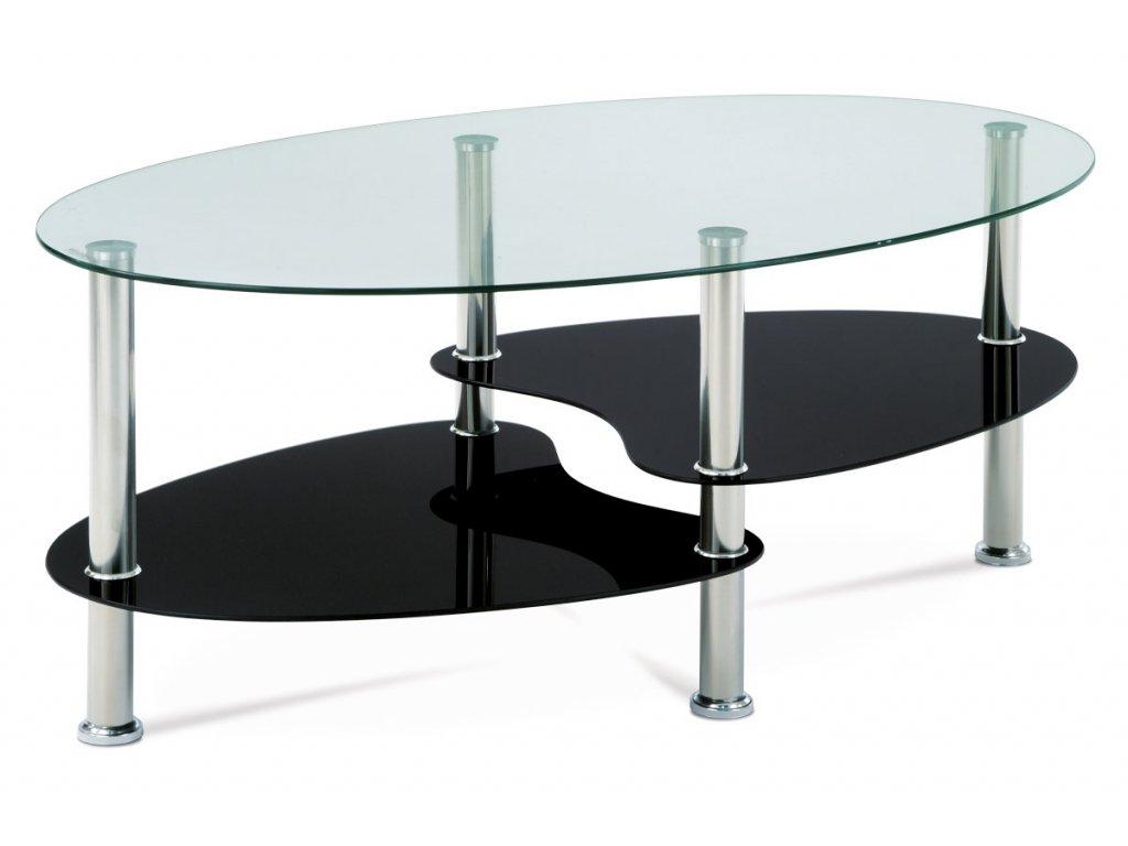 Konferenční stolek černý se sklem 42 cm