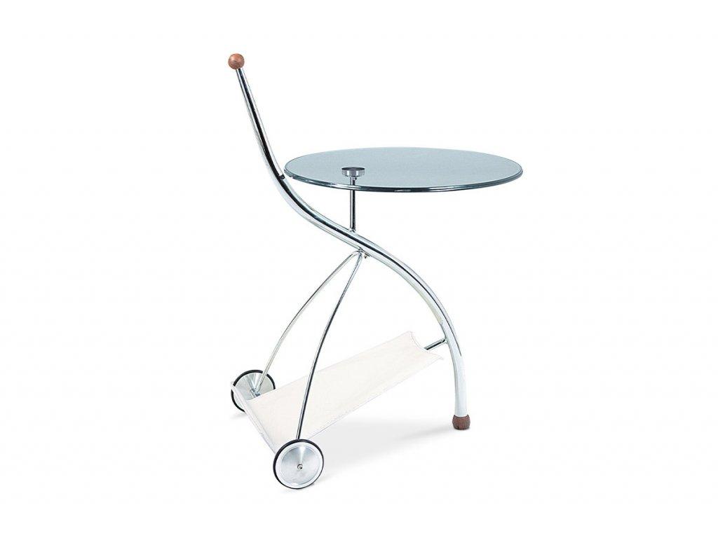 Servírovací stolek skleněný / chrom
