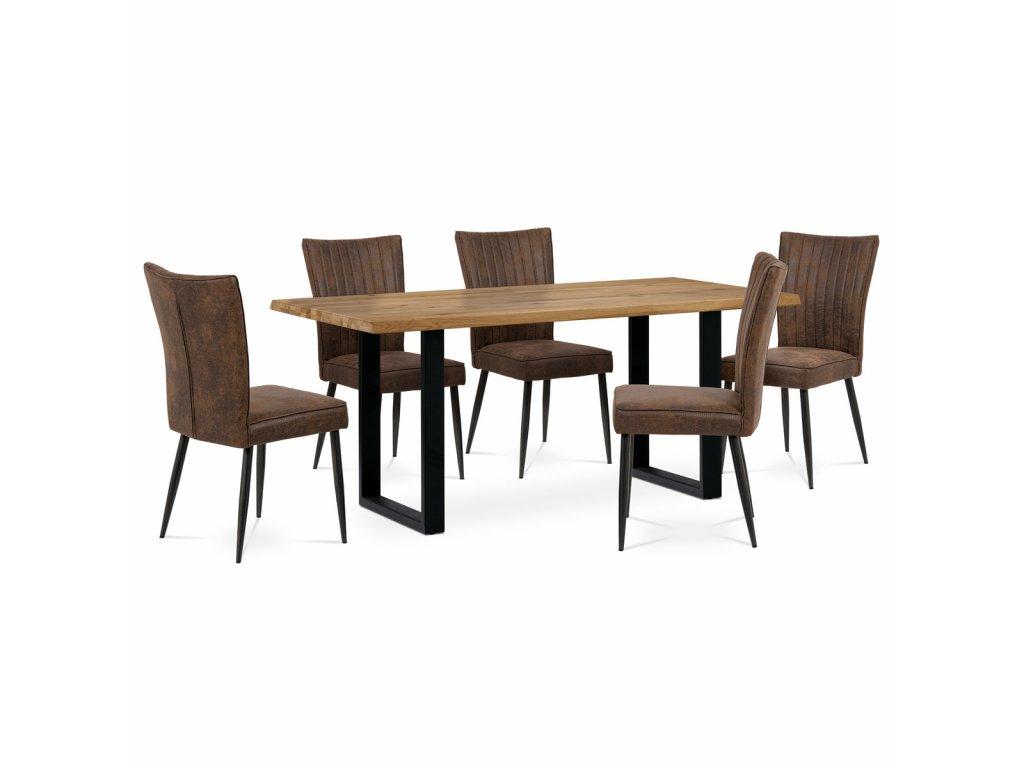 Jídelní židle hnědá imitace broušené kůže / kov