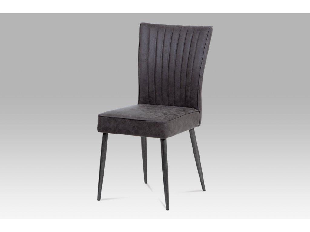 Jídelní židle šedá imitace broušené kůže / kov