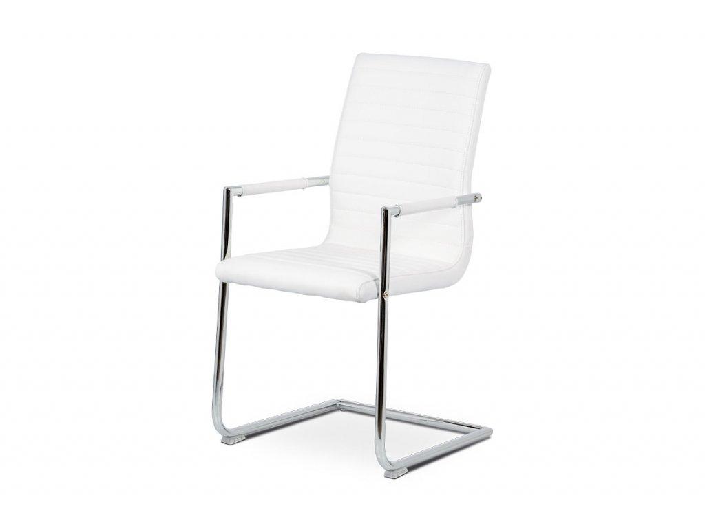 Konferenční židle bílá ekokůže / chrom