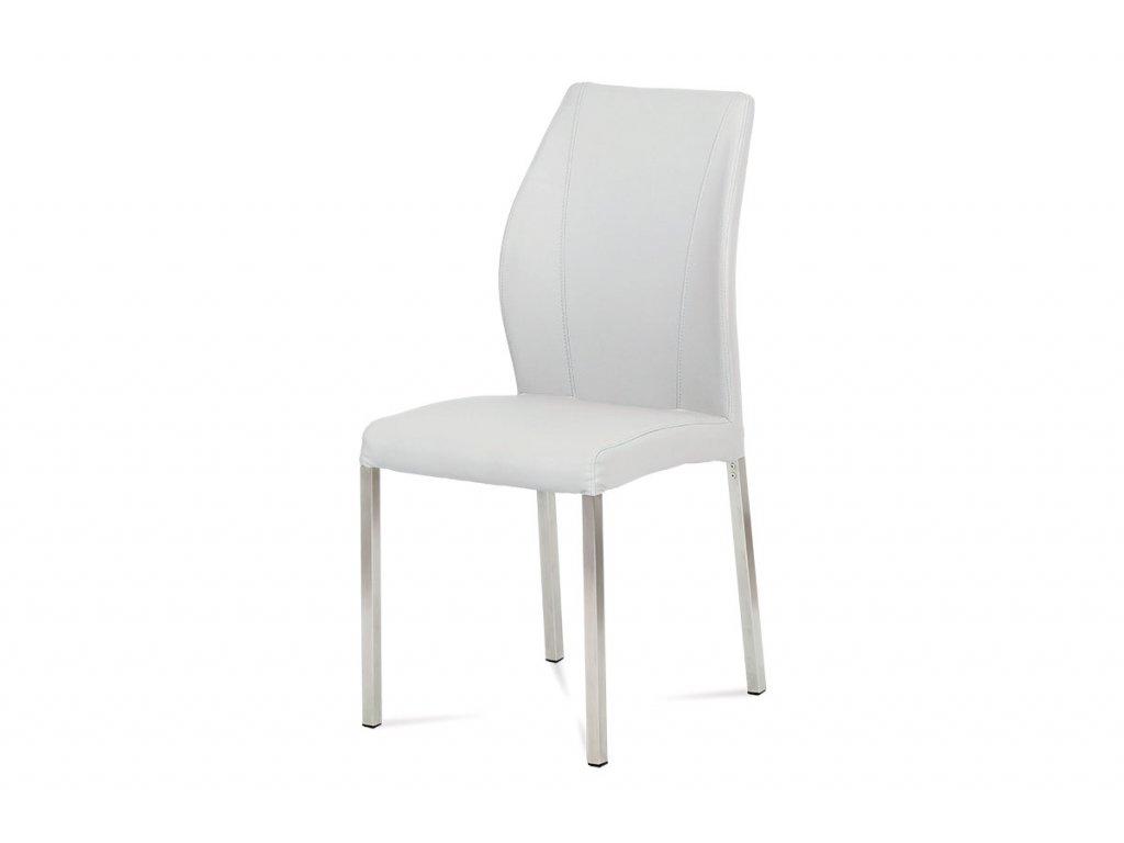 Jídelní židle bílá ekokůže  / broušený nerez