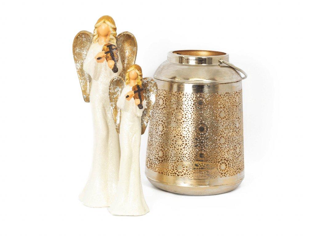 Sada 3 ks dekorací: Lucerna a dva třpytiví andělíčci