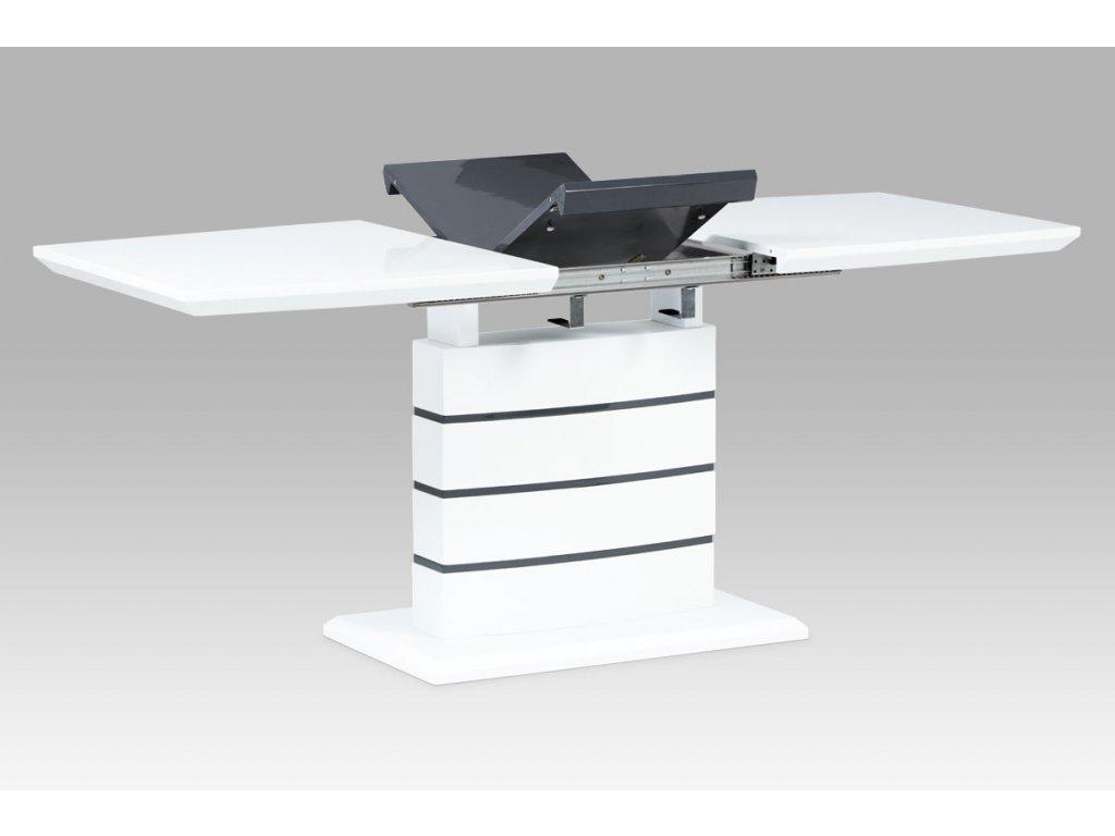 Jídelní stůl rozkládací bílý / šedý / lesk 140 - 180 x 80 cm