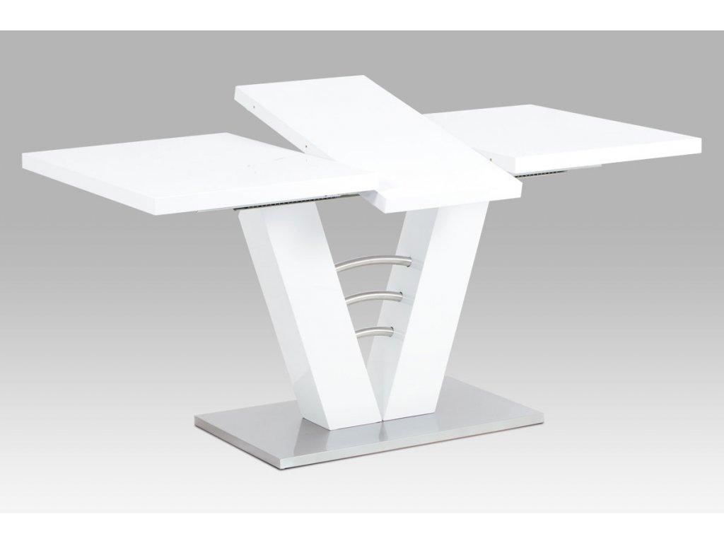 Jídelní stůl rozkládací bílý / nerez 120 - 160 x 80 cm