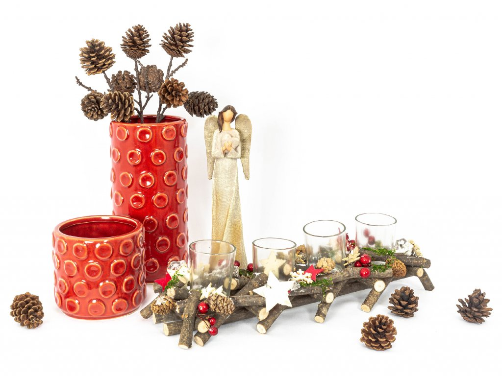 Vázy se svícnem a andělíčkem