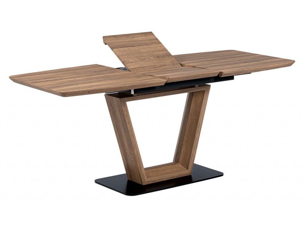 Jídelní stůl rozkládací tmavý dub / kov 140 - 180 x 80 cm