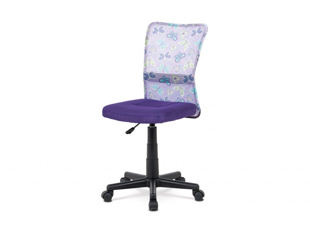 Kancelářská židle fialová látka / plast