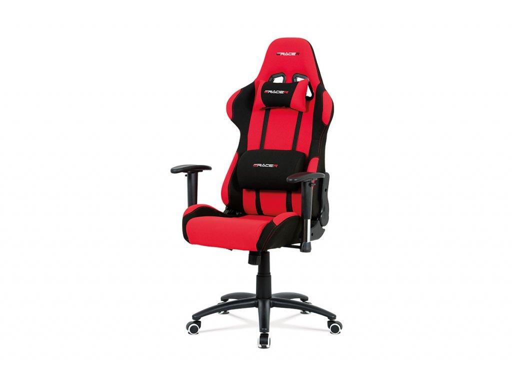 Kancelářská židle červená látka / kov