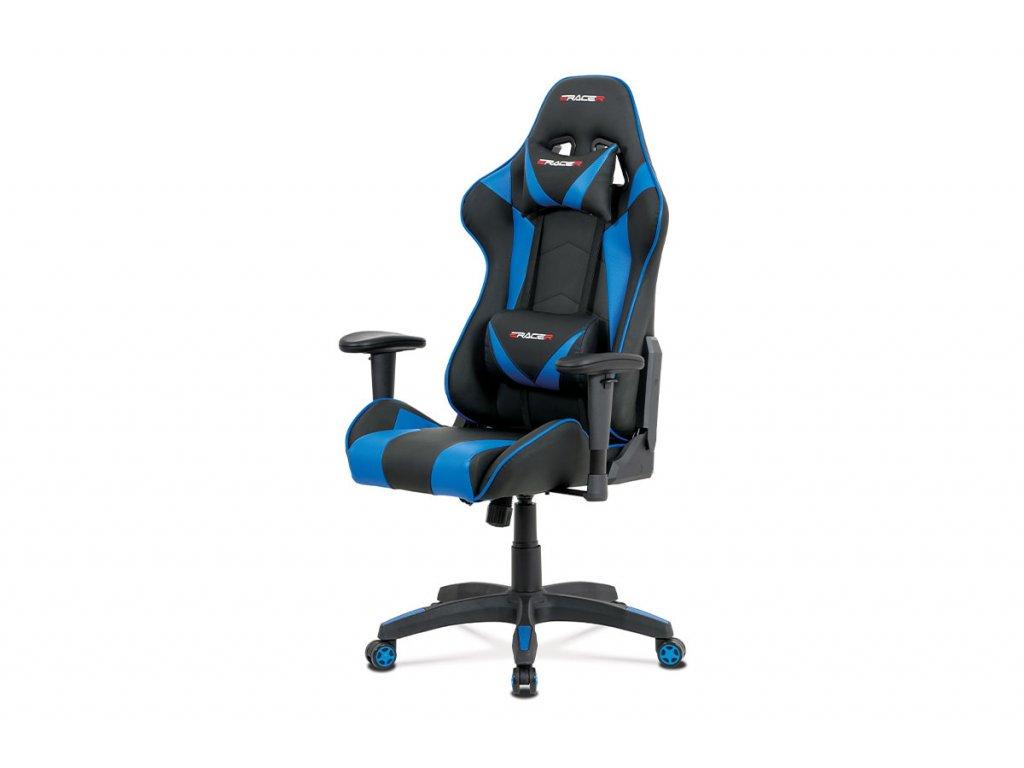 Kancelářská židle modrá ekokůže / plast